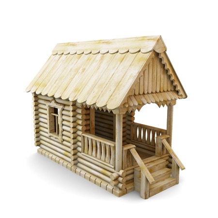 logs: Wooden house from logs isolated on white background. 3d illustration.