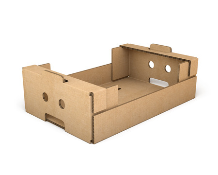shipped: Cardboard box isolated on white background. Cardboard packaging. 3d illustration
