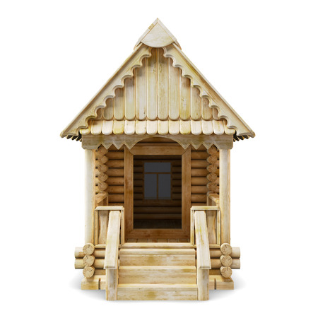 log wall: Wooden house front view on a white background. 3d.