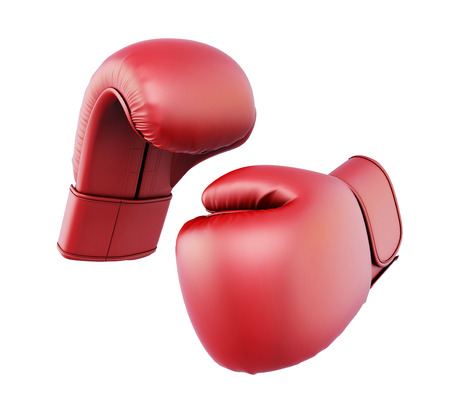 boxing equipment: Red boxing gloves isolated  on white background. 3d illustration. Stock Photo