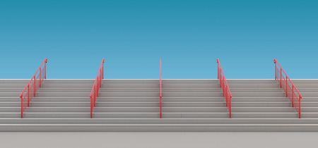 Staircase with handrails to nowhere. 3d render image.