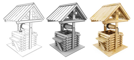 draw well: Draw-well from the sketch to the image. 3d illustration.
