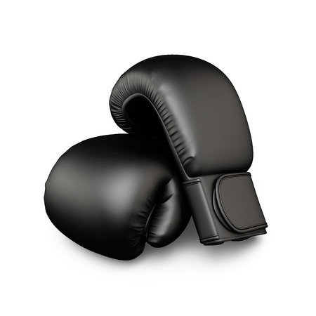 boxing glove: Black boxing gloves isolated  on white background. 3d illustration.