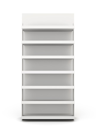 rack: Shop racks front view isolated on white background. 3d render image.