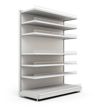Shelves for food in the supermarket isolated on a white. 3d illustration.
