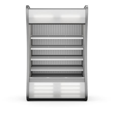 refrigerador: Refrigeración Showcase Iluminado vista frontal aislado en fondo blanco. 3d. Foto de archivo