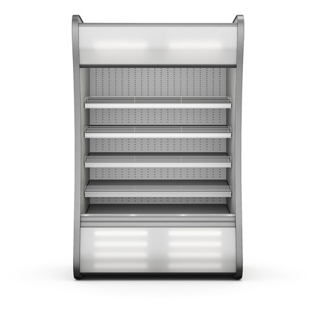 refrigerator with food: Showcase refrigeration Illuminated front view isolated on white background. 3d.