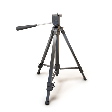 tiny lenses: Tripod for camera or camcorder isolated on white background. Tripod clipping path. 3d render image. Stock Photo