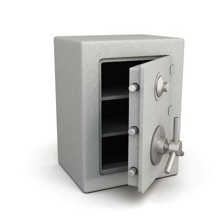 caja fuerte: Caja de seguridad con la puerta abierta aislada en el fondo blanco. Ilustración 3D. Foto de archivo