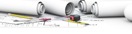 architect tools: Engineering design tools architect. Cap for your site. 3d illustration. Stock Photo