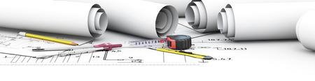 Engineering design tools architect. Cap for your site. 3d illustration. Standard-Bild