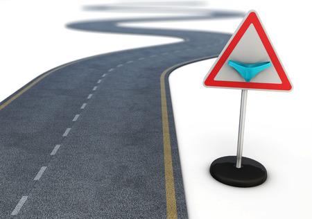 wag: Winding road after the road sign with a bikini. Conceptual image. 3d.