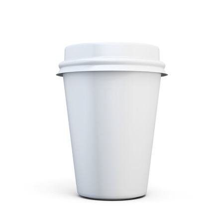 Plastic cup of coffee for your design isolated on white background. 3d illustration.