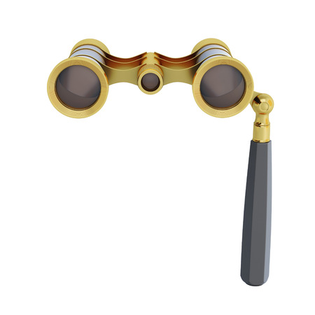 tarnished: Opera glasses close-up on a white background. 3d illustration.