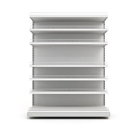 grocery shelves: Grocery shelves isolated on white background. Front view. 3d. Stock Photo