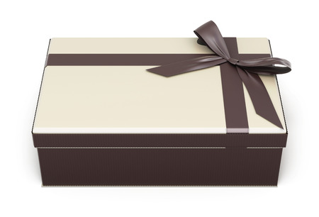 indulgence: Gift box with bow and ribbon chocolate isolated on white background. 3d illustration.