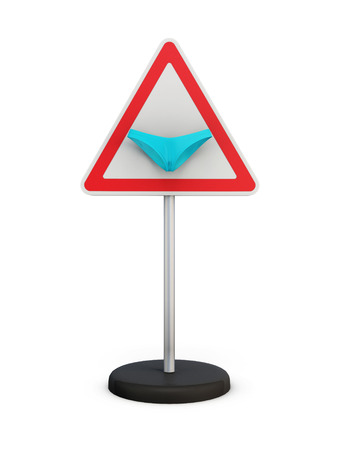 triangular warning sign: Road sign with a bikini isolated on white background. 3d illustration. Stock Photo