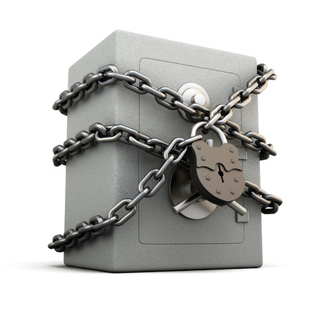 Safe with granary lock isolated on white background. Concept image. 3d illustration.