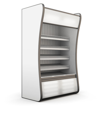 supermarket shelves: Refrigerator showcase isolated on white background. 3d illustration. Stock Photo