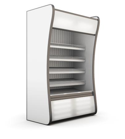 Refrigerator showcase isolated on white background. 3d illustration. Stock Photo