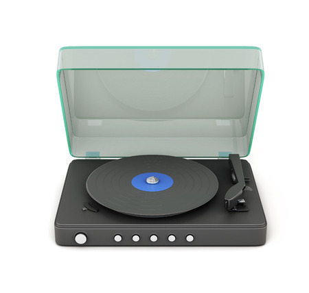 audiophile: Turntable with the lid open isolated on white background. 3d.