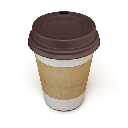 Cup of coffee with a cardboard label on a white background. 3d.