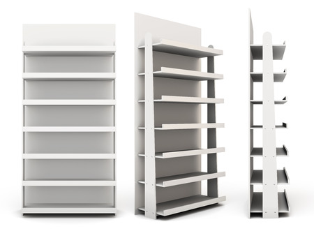 Shop racks from different angles  isolated on white background. 3d Standard-Bild