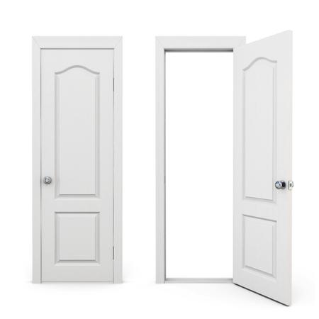 A puerta cerrada y abierta aislada en el fondo blanco. Las 3D. Foto de archivo - 44550965
