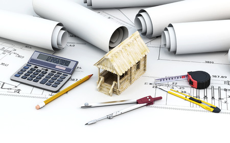 architect tools: Engineering project architect with tools and wooden house. Conceptual image. 3d illustration.
