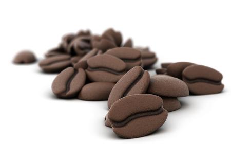 chicchi di caff?: Illustrazione 3D dei chicchi di caffè close-up su uno sfondo bianco
