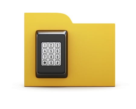 combination lock: Folder with a combination lock. The concept of protection of the information in your computer. 3d render image.