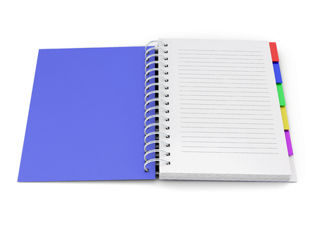 open notebook: Open notebook with the blue cover with spring isolated on white background. 3d rendering.