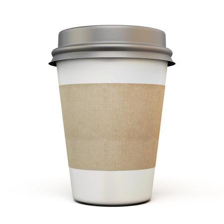 taza de café: Taza de café con una gorra oscura y etiquetas de cartón sobre un fondo blanco. 3d.