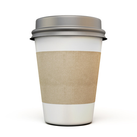 Cup of coffee with a dark cap and carton labels on a white background. 3d. Archivio Fotografico