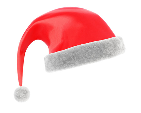 christmas cap: Christmas cap isolated on white background. 3d rendering. Stock Photo