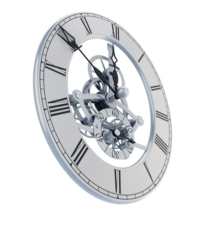 dial: Mechanisms hours of face and hands on a white. 3d illustration.