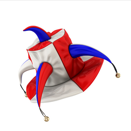 jester hat: Jester hat isolated on white background. 3d illustration. Stock Photo