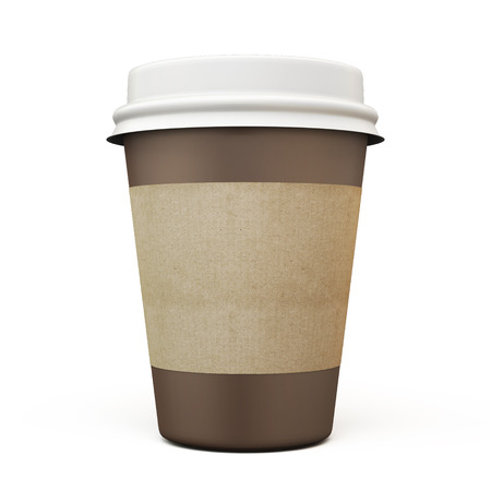 take out food container: Cup of coffee with carton label isolated on white background. 3d.