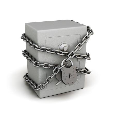 白い背景に分離されたロックとチェーンで安全です。3 d イラスト。概念的なイメージ。