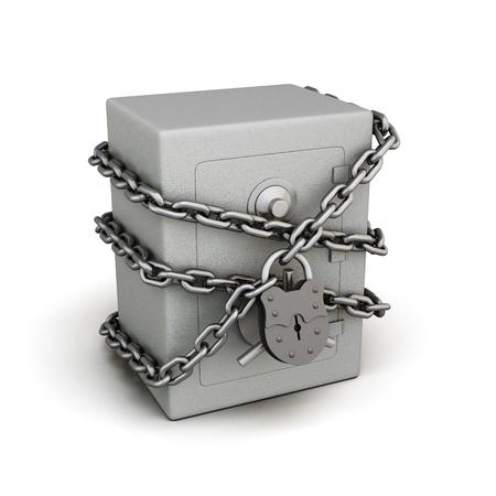 stainless steal: Safe in the chain with a lock isolated on white background. 3d illustration. Conceptual image.