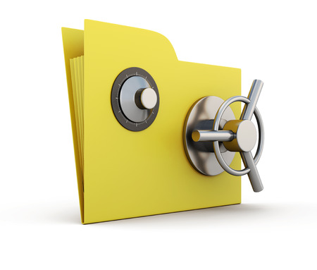 caja fuerte: Carpeta para los papeles con cerradura de seguridad aisladas sobre fondo blanco. 3d.