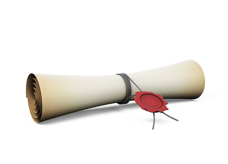 credence: Scroll with the seal isolated on white background. 3d illustration.