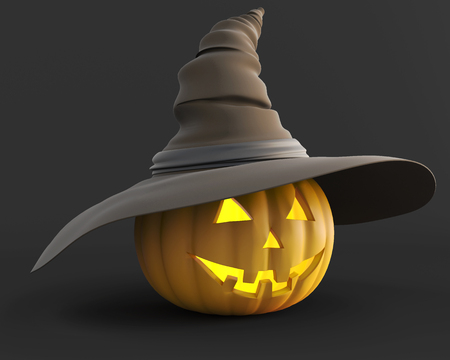 3d scary: Scary jack o lantern Halloween pumpkin  glowing from the inside in hat on a dark background. 3d illustration. Stock Photo