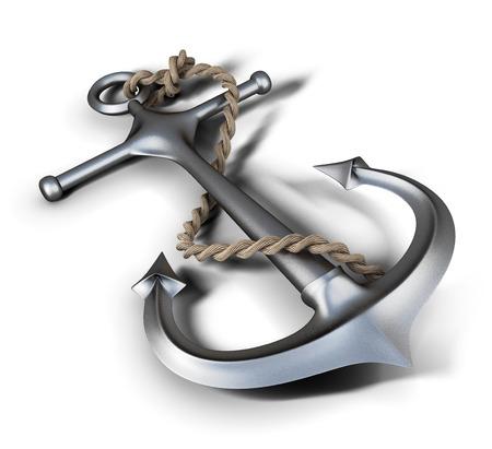 ancre marine: Anchor gros plan sur un fond blanc. 3d illustration. Banque d'images