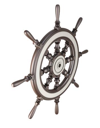 ship steering wheel: Ship steering wheel isolated on white background. 3d illustration. Stock Photo