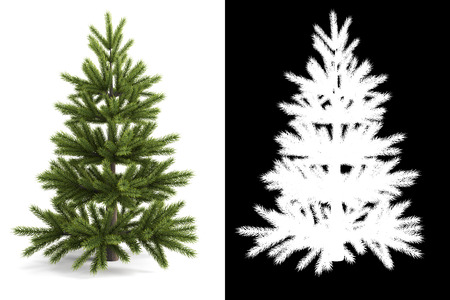 white mask: Christmas tree next to a black and white mask for isolation. 3d rendering.
