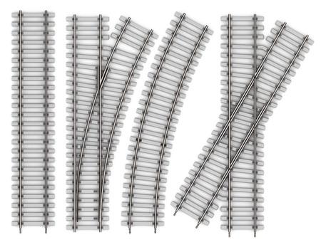 Jogo dos elementos dos trilhos isolados no fundo branco. Ferrovia reta trecho, curva, interseção, uma seta de renderização em 3d Foto de archivo - 44965451