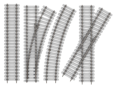 Set of Elements of rails isolated on white background. Railway straight stretch, bend, intersection, an arrow 3d rendering Reklamní fotografie - 44965451