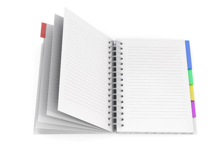 diary background: Open diary with spring isolated on white background. 3d rendering. Stock Photo