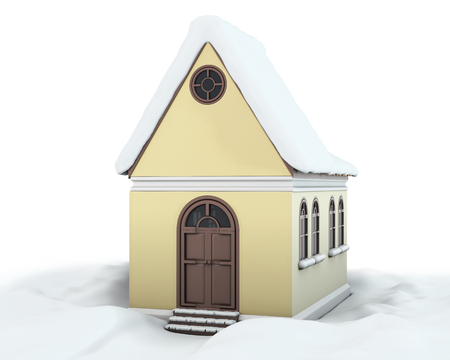 snowbank: House with the snow on the roof among the snowdrifts on a white. 3d render image.